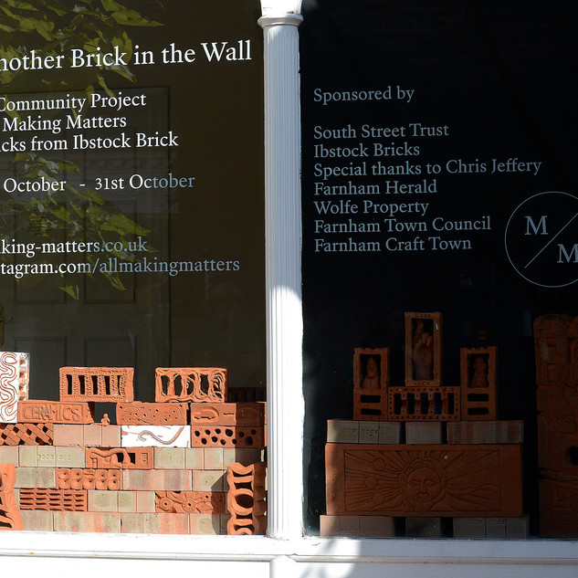 Another Brick in the Wall window display, Herald shop, Lion & lamb Courtyard, Farnham