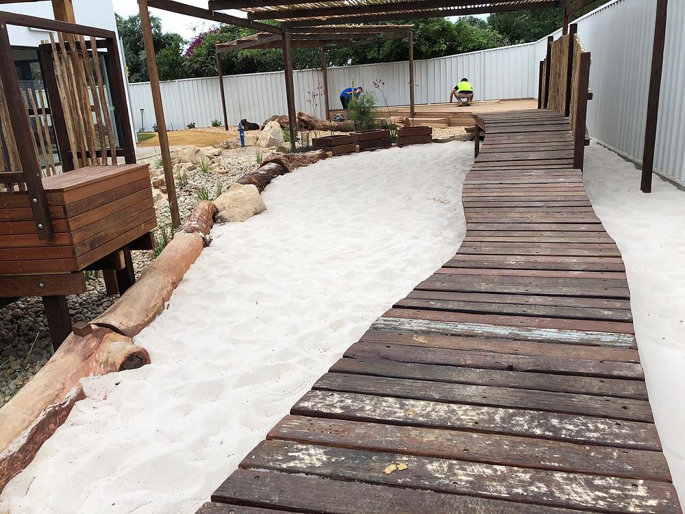 Rustic Hardwood Decking, Pergolas, and Ramps Marion Rd Child Care Centre - Nathan Thomas Carpenter Builder