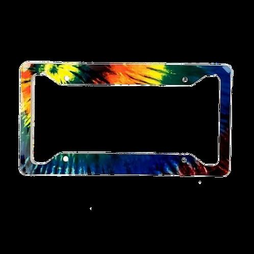 Tie Dye Aluminum License Plate Frame