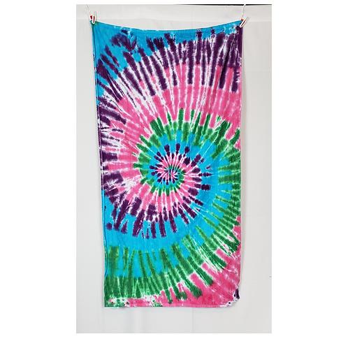 "Multi Color Spiral Beach Towel 30""x60"" | Hand Dyes | 13.2oz Premium Terry Velour"