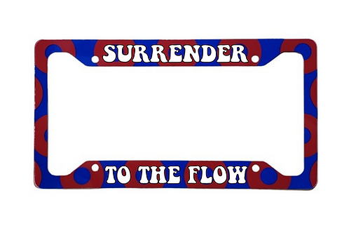 Surrender To The Flow Red Donut Aluminum License Plate Frame