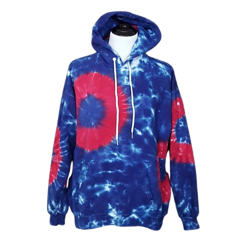 Red Donut on Blue Hoodie   Pullover Hoodie   Hand Dyed  