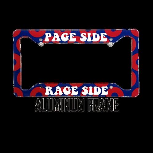 Page Side Rage Side Red Donut Aluminum License Plate Frame