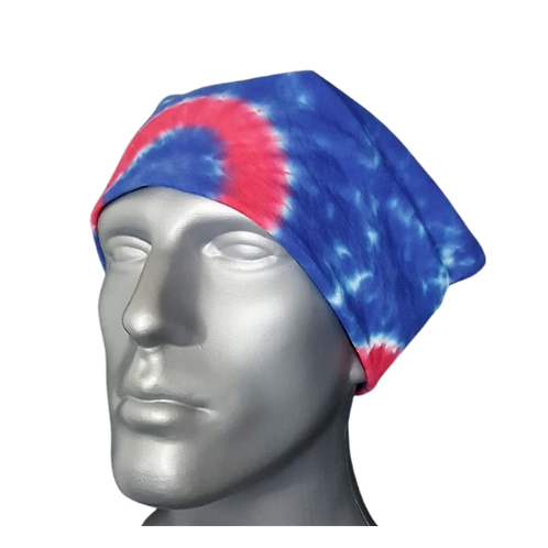 Bandanna Red Donut on Blue | Hand Dyed Tie Dye