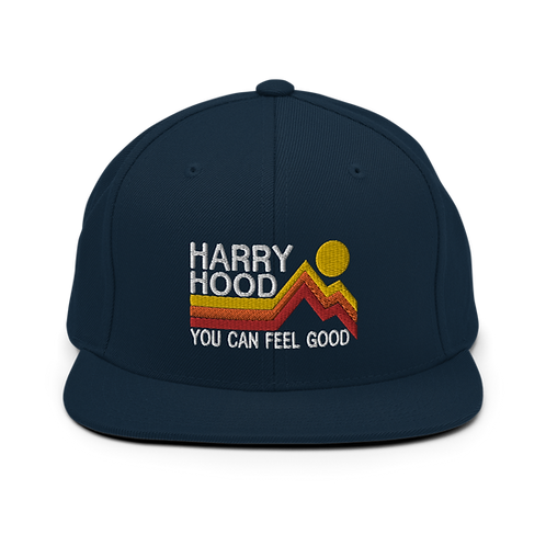 Harry Hood Classic Flat Snapback Hat with Green Undervisor   Yupoong