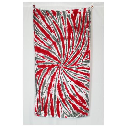"Crimson & Gray Spiral Beach Towel 30""x60"" | Hand Dyes | 13.2oz Premiu"