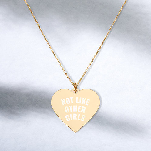 Not Like Other Girls Engraved Sterling Silver Heart Necklace with chain