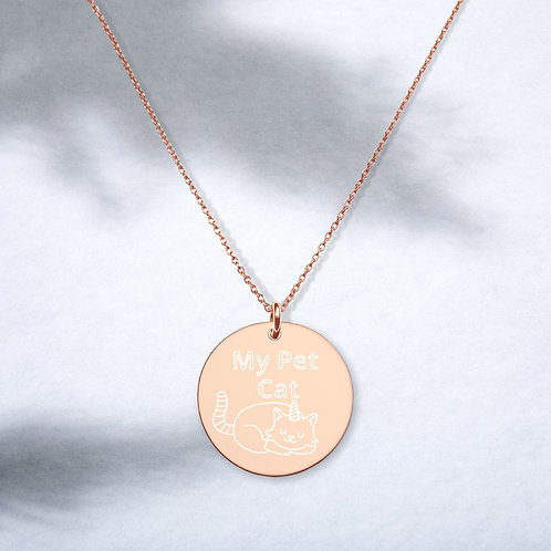 My Pet Cat Unicorn Engraved Sterling Silver Disc Necklace   Phish Inspired
