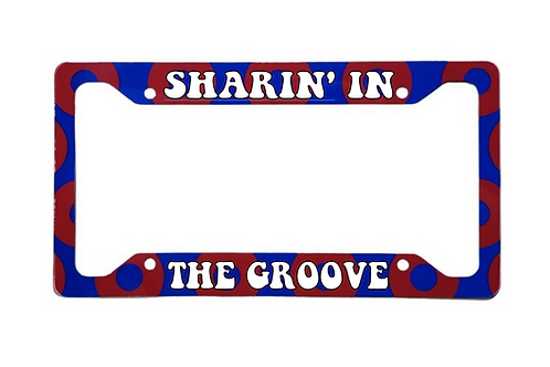 Sharin' In The Groove Red Donut Aluminum License Plate Frame