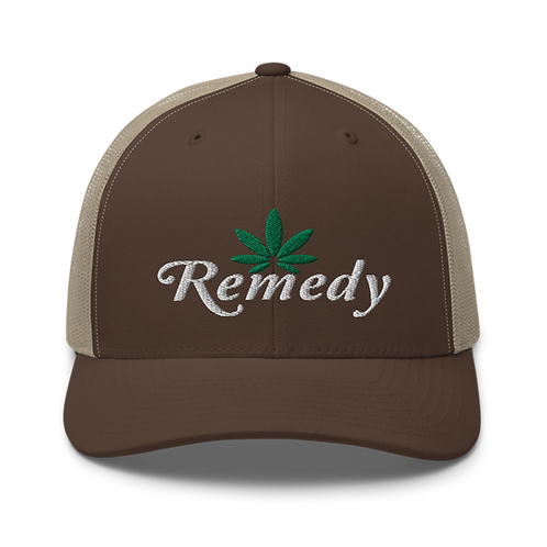 Remedy Cannabis Leaf Trucker Cap | Flat Embroidery | Black Crowes Inspired Art