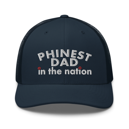 Phinest Dad In The Nation Red Donut Trucker Cap | Flat Embroidery