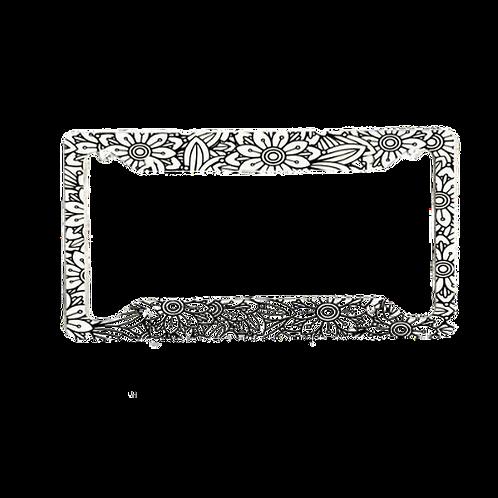 Retro Flowers Black & White Aluminum License Plate Frame