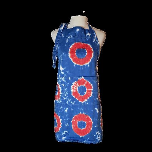 Red Donut Tie Dye Apron | 2 Pockets | Adjustable