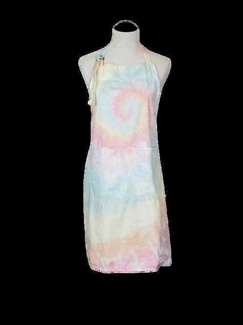 Apron - Soft Pastel Watercolor Cotton Candy Tie Dye   2 Pockets & Adjustable Nec