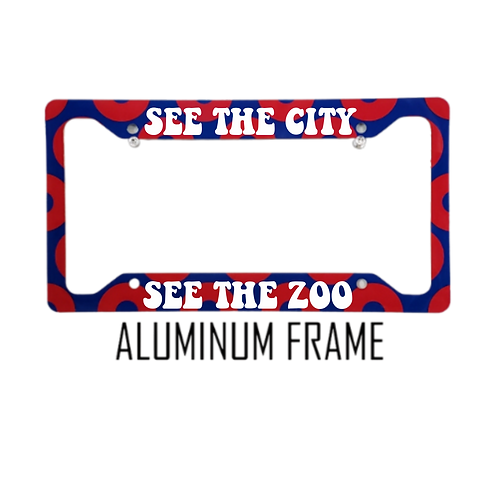 See The City See The Zoo Red Donut Aluminum License Plate Frame