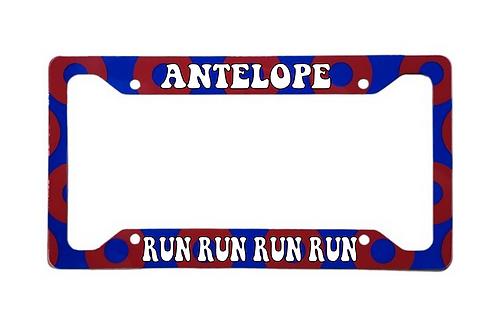 Antelope Run Run Run Red Donut Aluminum License Plate Frame