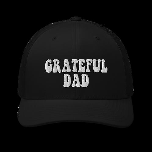 Grateful Dad Trucker Snapback Cap | Flat Embroidery | Inspired Dead Art Cap