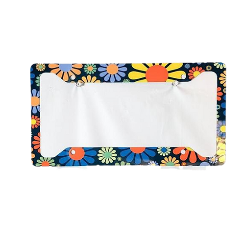 60'S Flowers on Teal Background Aluminum License Plate Frame