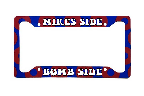 Mikes Side Bomb Side Red Donut Aluminum License Plate Frame