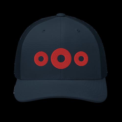 3 Red Donut Trucker Cap | Flat Embroidery | Phish Inspired Art