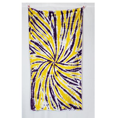 "Purple & Gold Spiral Beach Towel 30""x60"" | Hand Dyes | 13.2oz Premium Terr"