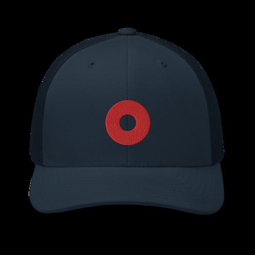 Red Donut Trucker Cap   Flat Embroidery   Phish Inspired Art