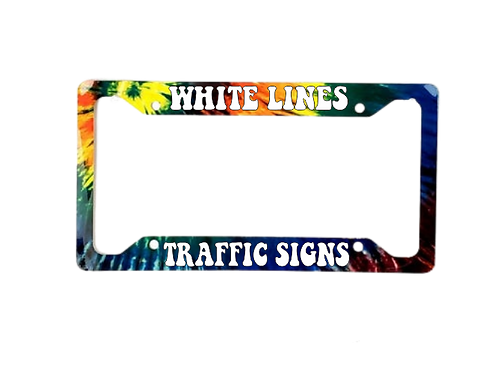 White Lines Traffic Signs Tie Dye Aluminum License Plate Frame