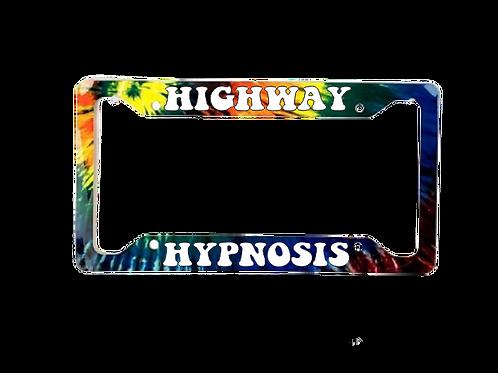 Highway Hypnosis Tie Dye Version Aluminum License Plate Frame
