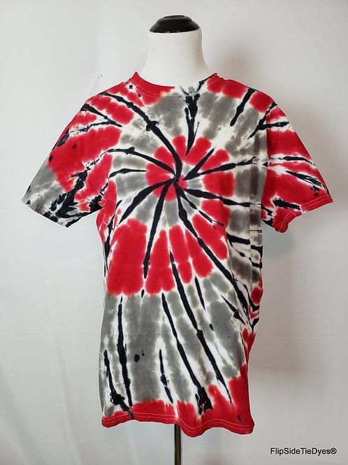 Crimson & Grey Stain Glass Spiral T-Shirt | Hand Dyed Tie Dye Shirt
