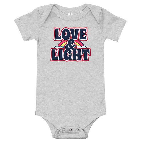 LOVE & LIGHT Rainbow Bella + Canvas baby bodysuit