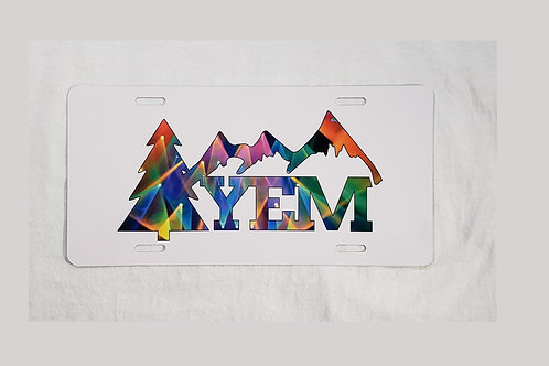 "YEM Lights Front License Plate | 5.88"" x 11.88"" Aluminum | Ink/Printed"