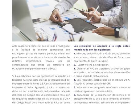 REQUISITOS DE COMPROBANTE FISCAL EMITIDO POR UN EXTRANJERO SIN ESTABLECIMIENTO PERMANENTE EN MÉXICO.
