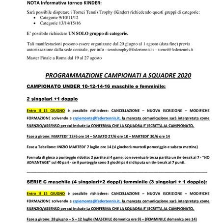 PROGRMMAZIONE CAMPIONATI A SQUADRE 2020