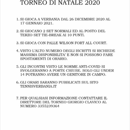 TORNEO OPEN DI NATALE 2020