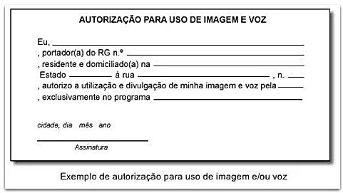 Modelo de autorização para uso de imagem e voz