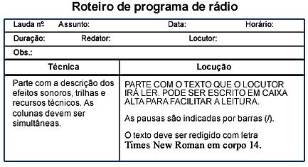 Roteiro de programa de rádio