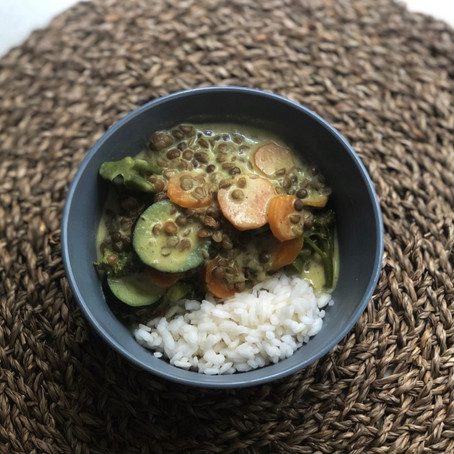 Mixed veggies, lentils and coconut curry