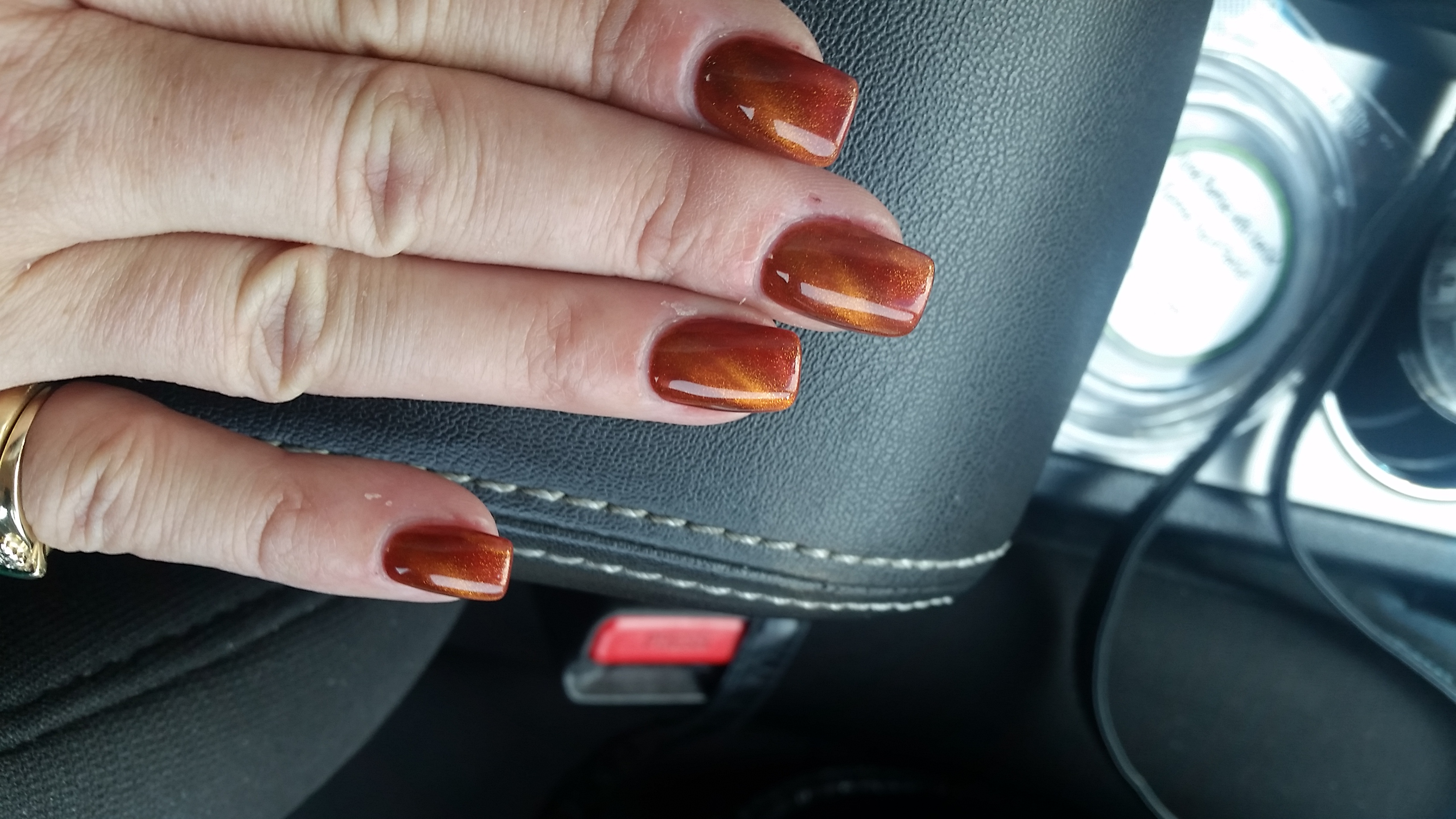 copper painted finger nails
