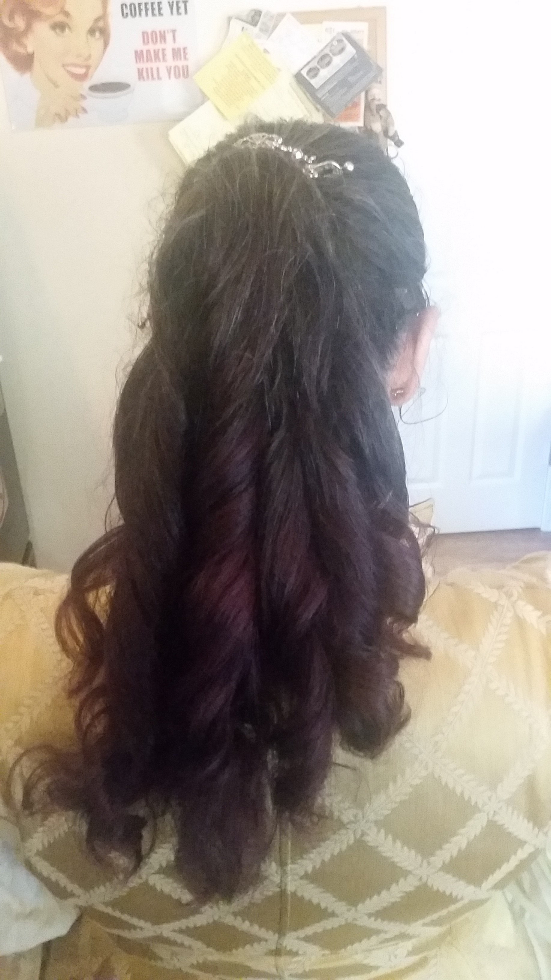 curled womans hair