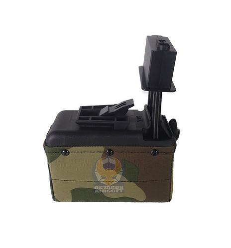A&K M249/LMG Sound Control Box Magazine 1500rds WL(Wood Land)