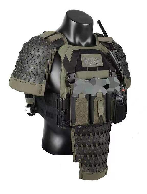 FCW Samurai  Style Armor Belly Set (BK Steel Armor Scales With R Green Pad)