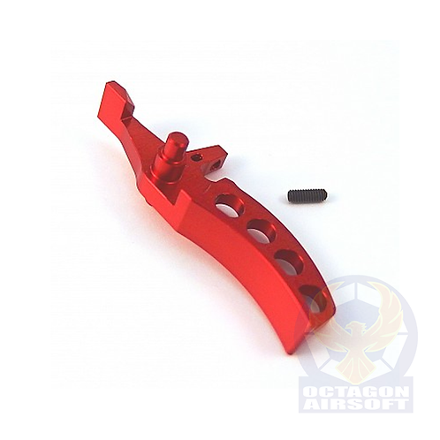 JeffTron Curved CNC Alloy trigger for M4 / M16 series AEG (Red)