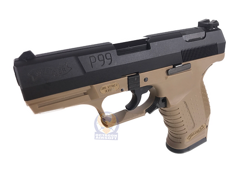 FCW P99 GBB Pistol with Full Marking Custom BK / DE (WE BASE)