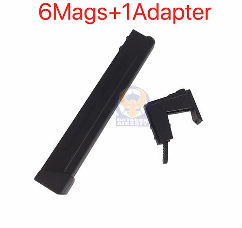 SRC M4 Tran 9MM 110rds Mid Capacity 6 Magazine Adapter Set