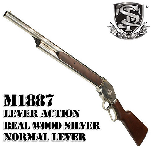 S&T M1887 Lever Action Shell Ejecting Gas Shotgun Real Wood Long SV