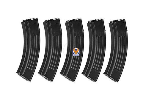 King Arms AK Style M4 M16 100 rounds Magazin 5pcs Box Set (BK)