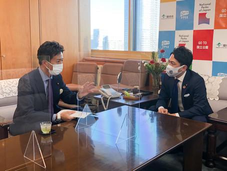 小泉環境大臣とカーボンニュートラル推進策についての打合せ
