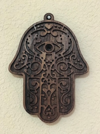 Oil Stained Wooden Hamsa Decor