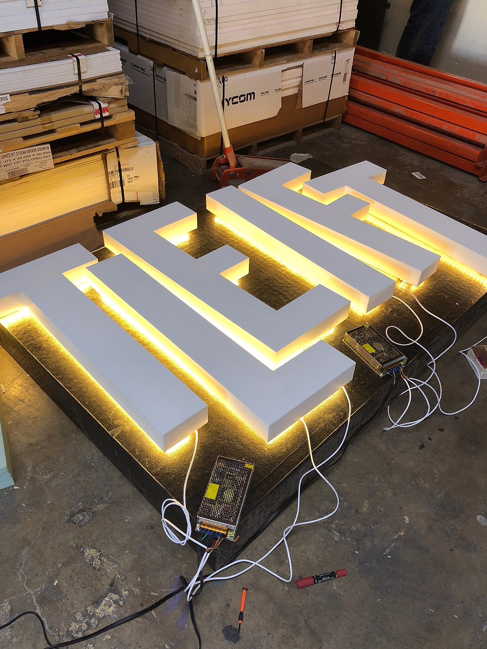 Illuminated LED back lighting foam letters halo effect