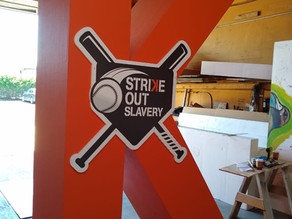Fabricating Oversized over 10ft Letters and Banners for Strike Out Slavery